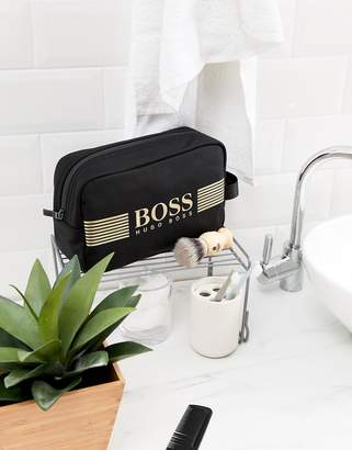 BOSS pixel toiletry bag nylon gold logo in black