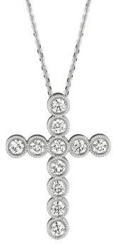 Morris & David 14K White Gold Diamond Cross Pendant - 0.34 TCW