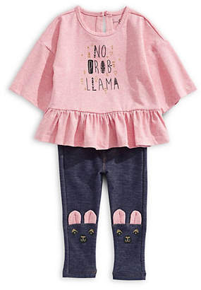 Jessica Simpson Baby Girl's Two-Piece Graphic Top Llama Face Leggings Set