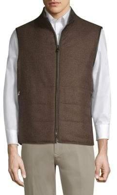 Corneliani Houndstooth& Suede Reversible Vest