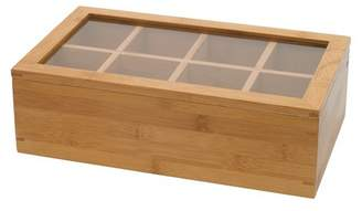 Lipper Bamboo 8-Compartment Tea Box with Acrylic and Bamboo Lid