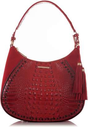 Brahmin Amira Croc Embossed Leather Shoulder Bag