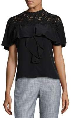 Rebecca Taylor Embroidered Lace Top
