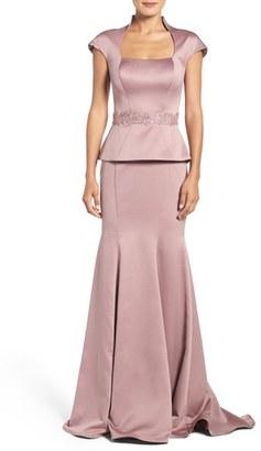 Women's La Femme Mock Two-Piece Satin Gown $498 thestylecure.com