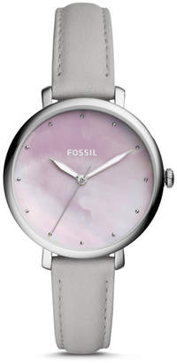 Fossil Jacqueline Three-Hand Mineral Gray Leather Watch