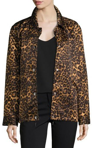 Alexander WangAlexander Wang Leopard-Print Oversize Moto Coat