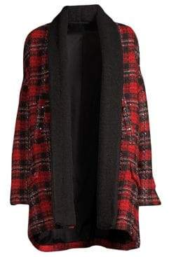 The Kooples Shawl Collar Tweed Plaid Jacket