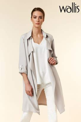 Wallis Womens Silver Crepe Waterfall Jacket - Silver