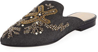 Andre Assous Karl Embroidered Denim Flat Mule