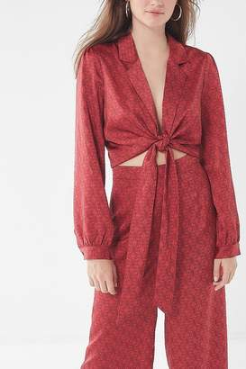 Urban Outfitters Satin Paisley Tie-Front Top