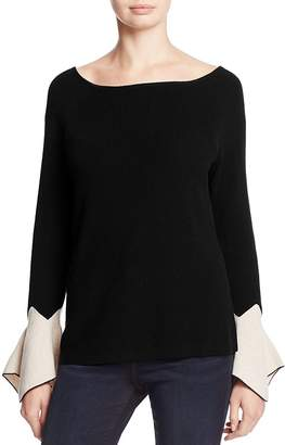 Nic+Zoe Crystal Contrast Cuff Bell Sleeve Sweater