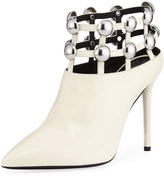 Alexander Wang Tina 105mm Leather Studded Grid Cage Booties
