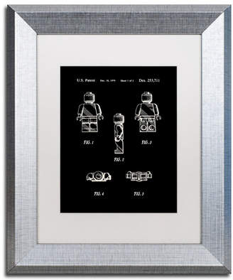 "Lego Claire Doherty 'Lego Man Patent 1979 Page 1 Black' Matted Framed Art - 11"" x 14"""
