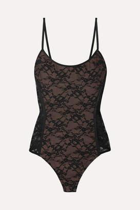 Alix Minna Satin-trimmed Stretch-lace Thong Bodysuit - Black