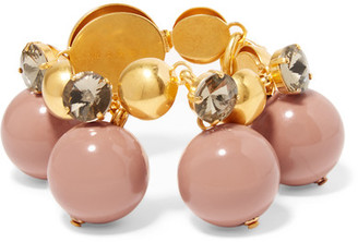 Marni - Gold-plated, Crystal And Resin Bracelet - Antique rose $500 thestylecure.com