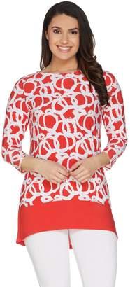 Susan Graver Printed Liquid Knit 3/4 Sleeve Top