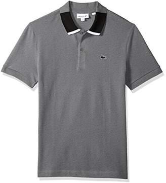 Lacoste Men's Short Sleeve Petit Pique with Color Block Collar Reg Fit Polo