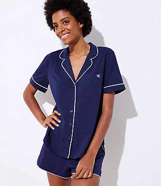 LOFT Embroidered Pajama Set