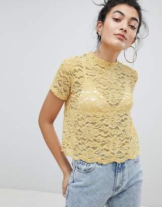 Bershka lace print top in yellow