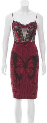 Philipp Plein Studded Butterfly Print Dress