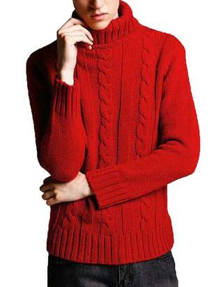 CRYYU Men Slim Cable Knitted Pullover Thermal Turtleneck Sweater US L
