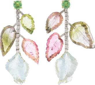 Irene Neuwirth JEWELRY Carved Tourmaline And Aquamarine Earrings