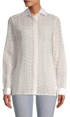 Valentino Lace Cotton Button-Down Shirt