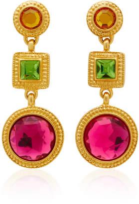 Ben-Amun Ben Amun Triple Drop Gold-Plated Crystal Earrings