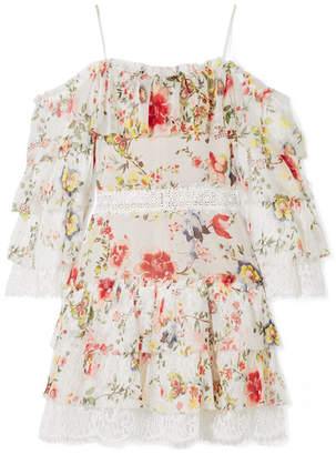 Alice + Olivia Alice Olivia - Santos Cold-shoulder Lace-trimmed Printed Silk-georgette Mini Dress - Ivory