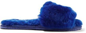 Double Rainbouu - Shearling Slides - Royal blue