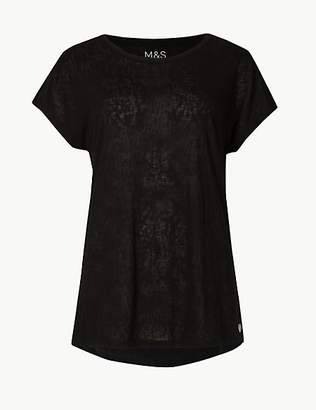 M&S Collection Textured Burnout Short Sleeve Top