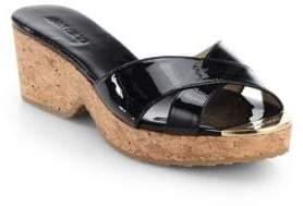Jimmy ChooJimmy Choo Panna Patent Leather Cork Wedge Slides