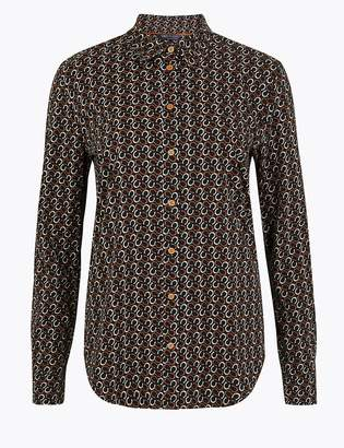 Marks and Spencer Cotton Rich Horseshoe Print Slim Fit Shirt