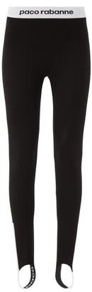 Paco Rabanne Bodyline Logo Jacquard Stirrup Leggings - Womens - Black