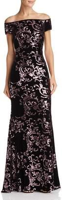 Eliza J Off-the-Shoulder Sequined-Velvet Gown