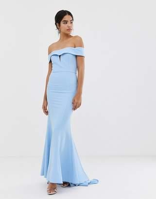 Jarlo bardot maxi dress with fishtail train in blue