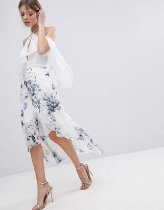 Coast Amber Floral Printed Asymmetric Hem Skirt