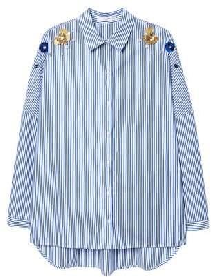 MANGO Beaded stripped shirt