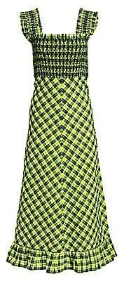 Ganni Women's Seersucker Check Long Dress
