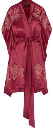 Carine Gilson Chantilly Lace-appliquéd Silk-satin Robe - Burgundy