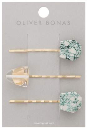 Oliver Bonas Marble Effect Bead Hair Grips Set of Three