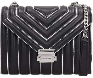Michael Kors Black-silver Quilted Leather Lg Bag