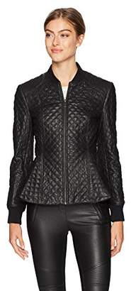 BCBGMAXAZRIA Women's Charles Knit Quilted Faux Leather Jacket