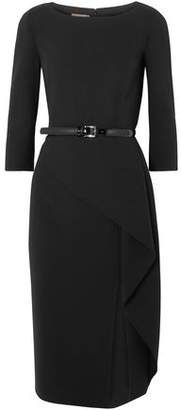 Michael Kors Origami Belted Draped Wool-Blend Crepe Dress