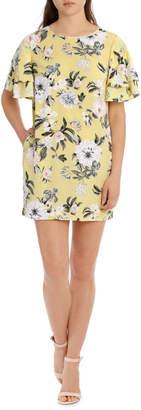 Miss Shop Flutter Sleeve Open Back Shift Dress - Large Bloom