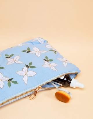 Elizabeth Scarlett Jasmine Chambray Travel Pouch Bag 20 x 30cm