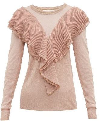 Peter Pilotto Ruffled Scalloped Edge Lurex Sweater - Womens - Pink Gold