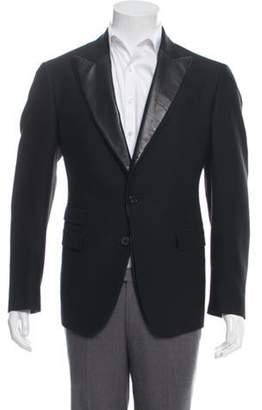 Neil Barrett Leather-Trimmed Wool Blazer black Leather-Trimmed Wool Blazer