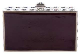 Judith Leiber Crystal-Trimmed Leather Box Clutch
