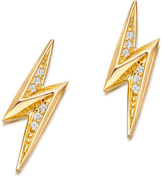 Astley Clarke Mini lightning bolt 18ct yellow gold-plated stud earrings